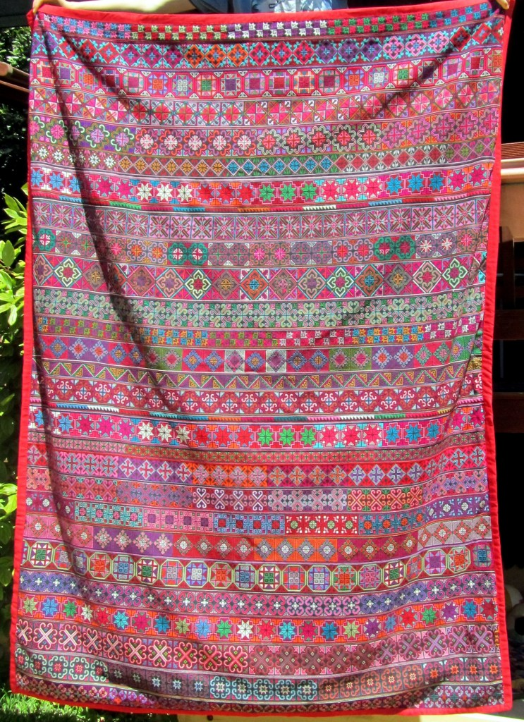 Cross-stitch quilt from the Akha tribe, measuring approximaely 1.5m x 2.0m.