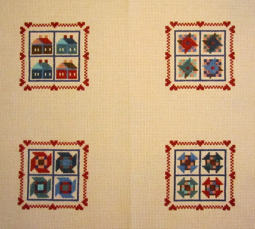 Four patchwork designs worked in cross-stitch.