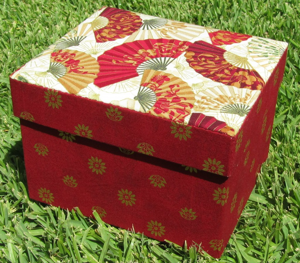 Fabric covered box. Completed size - 19cm x 16.5cm.
