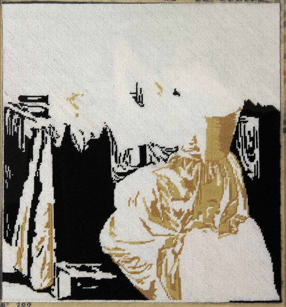 """Lute Player"", Found unfinished needlepoint completed by Mary Smull using only white yarn, 20"" x 21"", 2011"