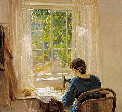 Sewing (the artist's wife) by Hans Heysen, 1913. This painting captures beautifully how I will be feeling this afternoon.