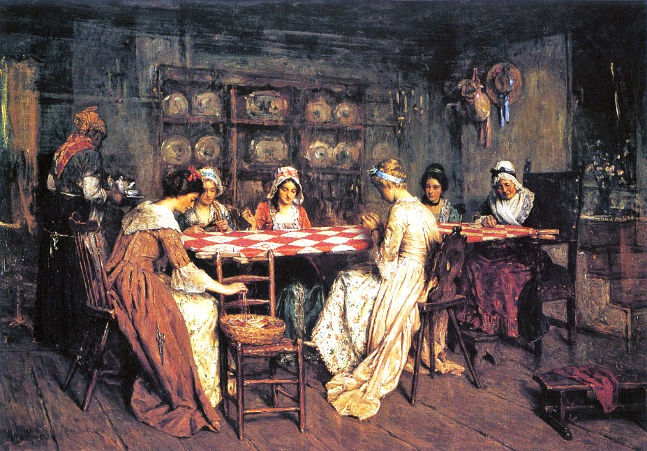 Henry Mosler (American genre artist, 1841-1920)  Quilting Bee. Women have been working together creatively for centuries.