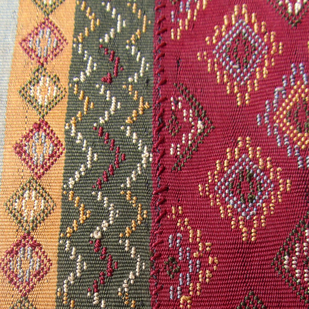 Close-up view of the join in the Chin weaving.