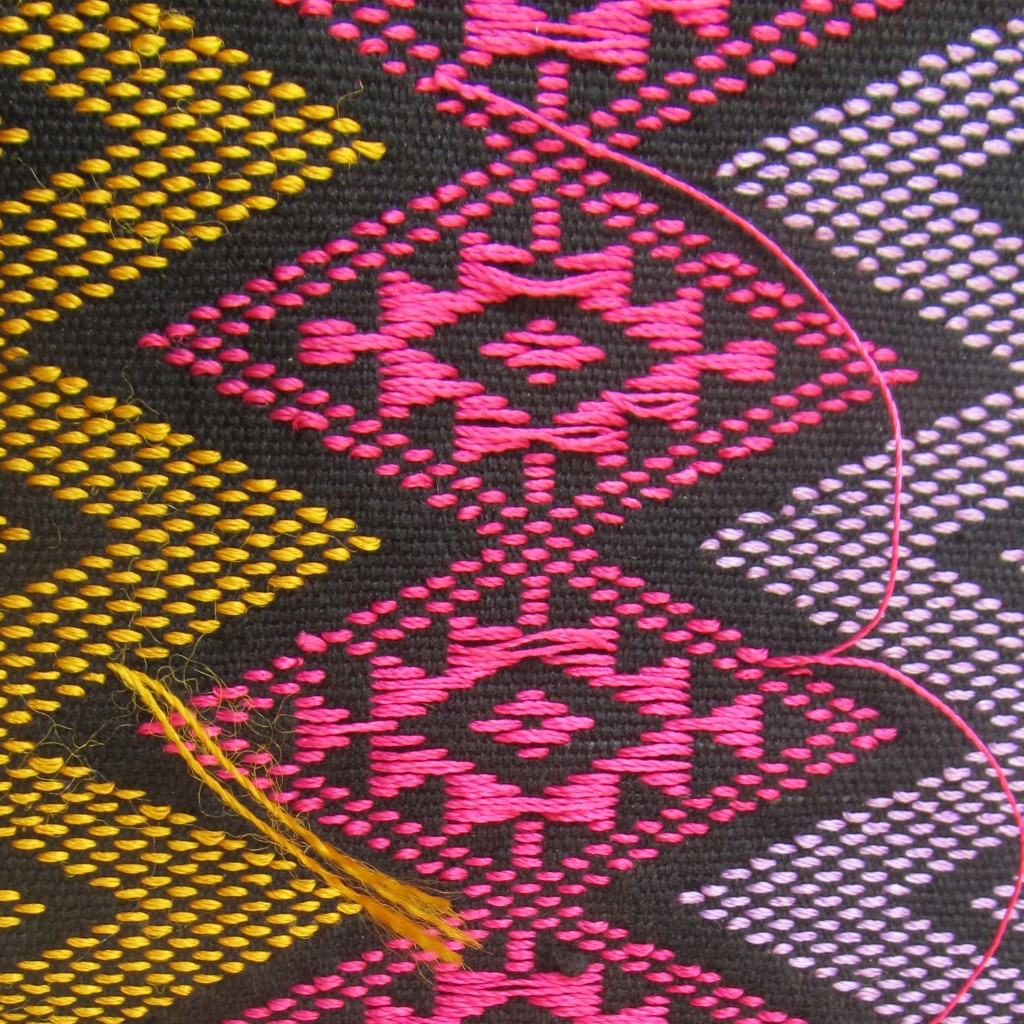 Detailed view of the back of the fabric. Note that this is the reverse of the pattern on the front of the fabric.