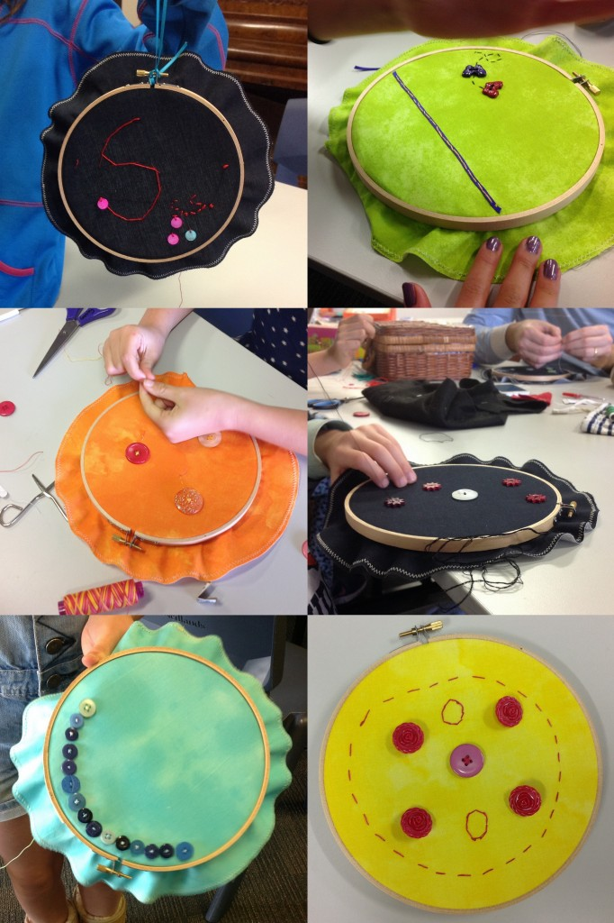 This embroidery hoop picture project also taught the children to sew on buttons securely :)