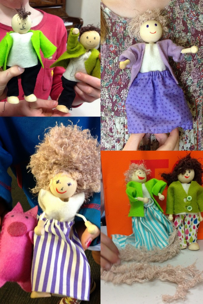 Creating clothes for wood and wire dolls.