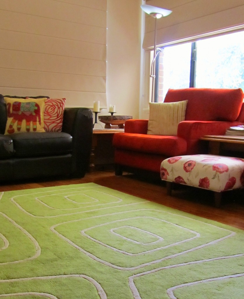 Samantha's green rug completely changed the look of our living room.
